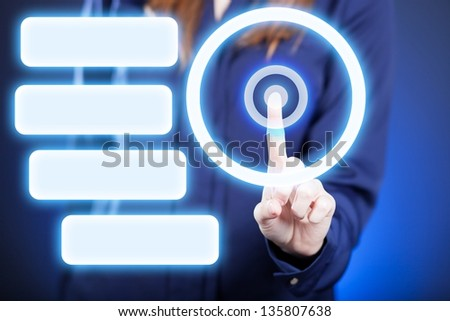 Woman's hand pushing the button on touch screen. Menu gallery - stock photo