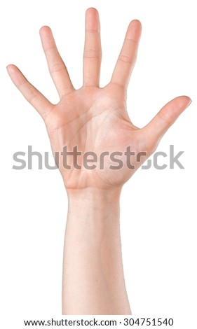 Woman's hand showing high five - stock photo