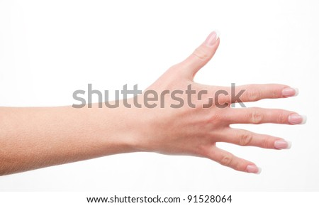 woman's hand shows five fingers, isolated on white background