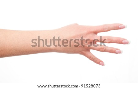 woman's hand shows four fingers, isolated on white background