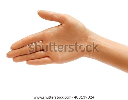 Woman's Hand the outstretched in greeting isolated on white background. High resolution product. Close up - stock photo