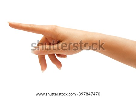 Woman's hand touching or pointing to something isolated on white background. Close up - stock photo