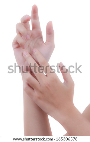 woman's hand with a variety of gestures isolated on a white background - stock photo