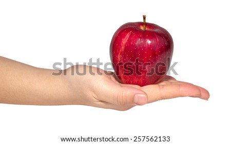 Woman's hand with an apple isolated on white background