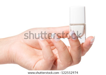 Woman'??s hand with French manicure isolated. Nail polish.