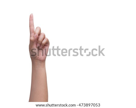 Woman's hand with one finger up isolated on white background