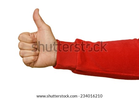 Woman's Hand With Red Sleeve Giving Thumbs Up On White Background - stock photo