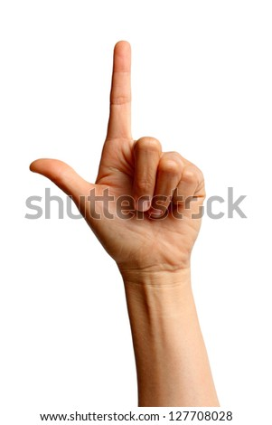Woman's hand with the index finger - stock photo