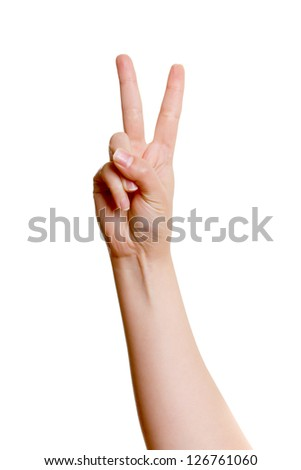 Woman's hand with two fingers up isolated on white background - stock photo