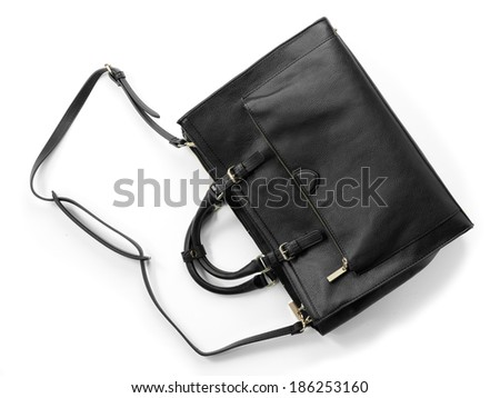 woman's handbag from top view on white background