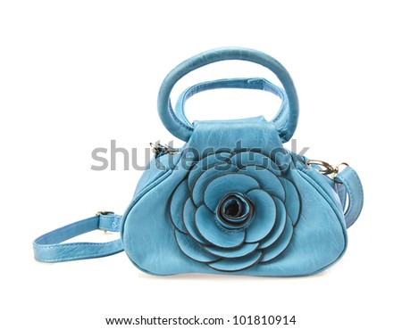 Woman's Handbag in Blue Leather - stock photo