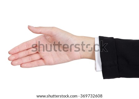 Woman's hands giving her hand for handshake front and back side in a business suit, isolated on white background.