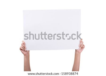Woman's Hands holding empty white blank board isolated on white background  - stock photo