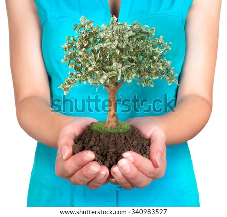 woman's hands holding ground, on white background