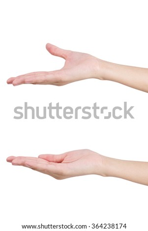 Woman's hands holding something empty, isolated on white background.