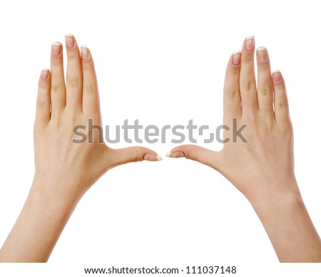 Woman's hands, isolated on white background - stock photo