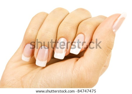 woman's hands on white background - stock photo