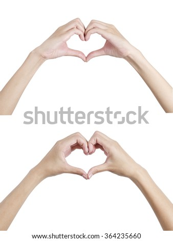 Woman's hands shaping a heart symbol front and back side, Isolated on white background.