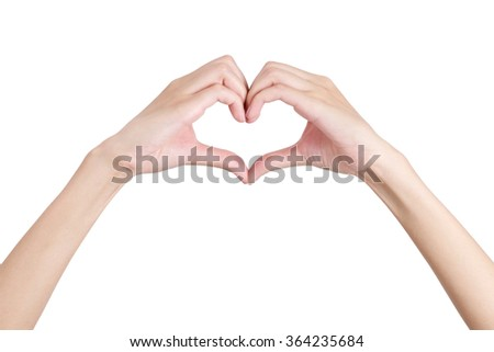 Woman's hands shaping a heart symbol front side, Isolated on white background.