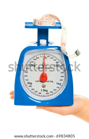 Woman's hands with scale and tape measure isolated on white