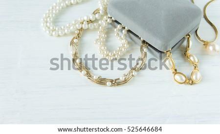 Womans Jewelry Vintage Jewelry Background Beautiful Stock