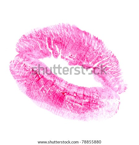 woman's kiss stamp on a white background - stock photo