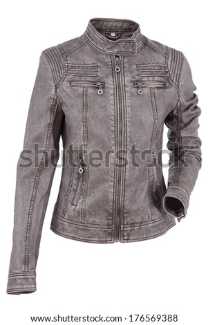 Woman's leather jacket isolated on a white background - stock photo