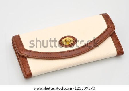 Woman's leather purse isolated on white background - stock photo