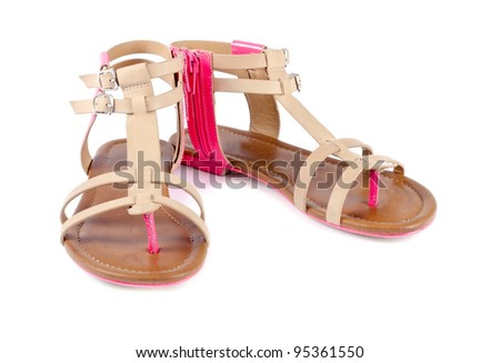 Woman's Leather Sandals Isolated on White