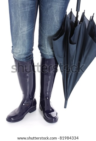 Woman's legs in Blue Wellingtons with Umbrella