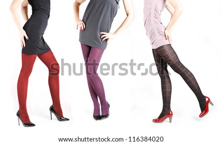 Woman's Legs Wearing Pantyhose and High Heels Isolated Against a White Studio Background - stock photo