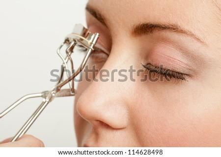 Woman's Make Up.��¡orrection of eyelashes.Isolated on white - stock photo