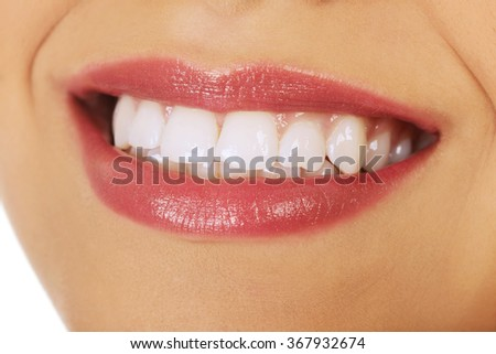Woman's mouth with perfect smile.