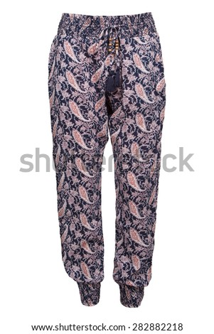 woman's paysley sweatpants - stock photo