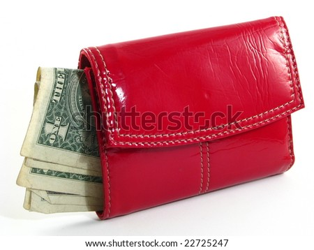 Woman's Red Wallet with One Dollar Bills - stock photo