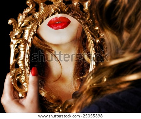 Woman's reflection - stock photo