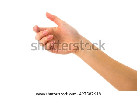 Woman's white hand holding something