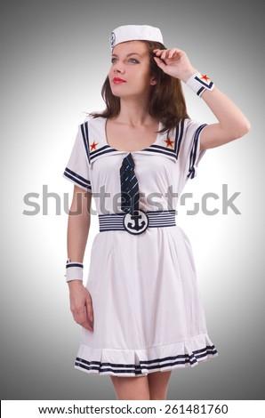 Woman sailor in marine concept - stock photo