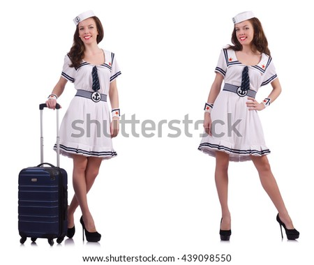 Woman sailor with suitcase isolated on white - stock photo