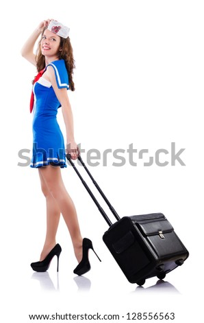 Woman sailor with suitcase on white