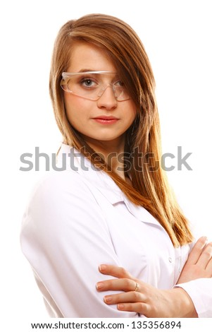 Woman scientist close up portrait, isolated on white background - stock photo