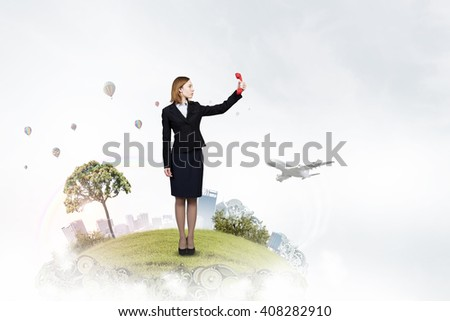 Woman scream in red receiver - stock photo