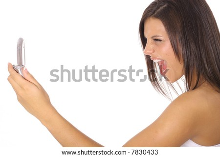 woman screaming at cellphone - stock photo