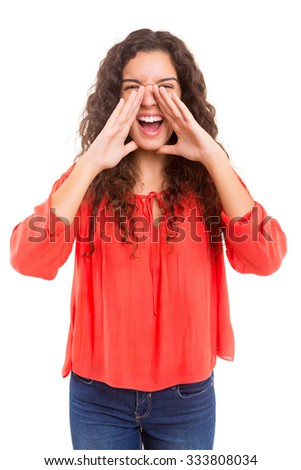 Woman screaming at someone, isolated over a white background - stock photo