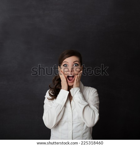 Woman screaming blackboard/chalkboard concept