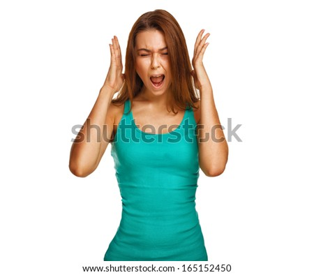 woman screaming wild hair her opened mouth hands to his head emotions - stock photo