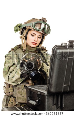 woman selects the gear before the battle