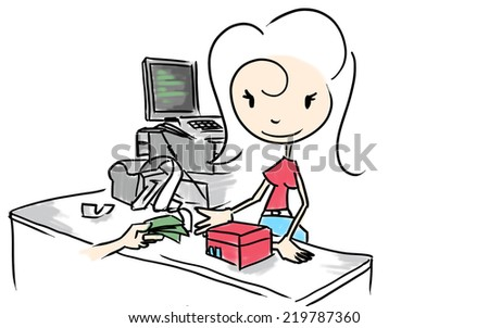 Woman selling - stock photo