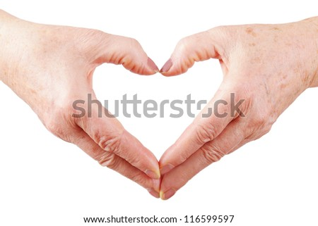 woman senior hands show heart gesture, down, isolated, white