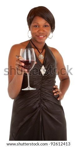 Woman Serving a Glass of Red Wine - stock photo